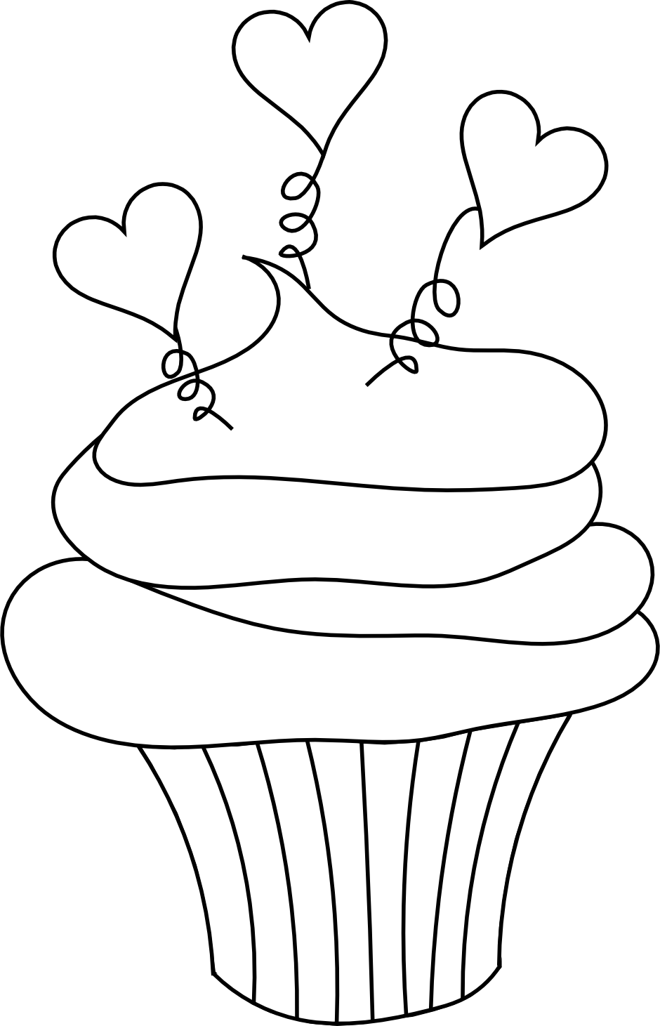 This Cupcake Image With Little Hearts Is Perfect For Valentine S Day Cupcake Coloring Pages Digital Stamps Free Free Coloring Pages
