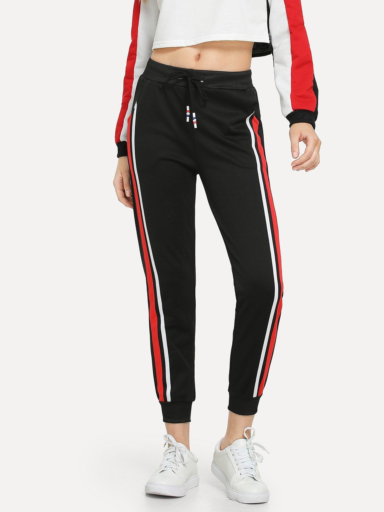 b08db04737e8f8 Sporty Striped Sweatpant Regular Elastic Waist High Waist Black Crop Length Drawstring  Waist Striped Side Pants