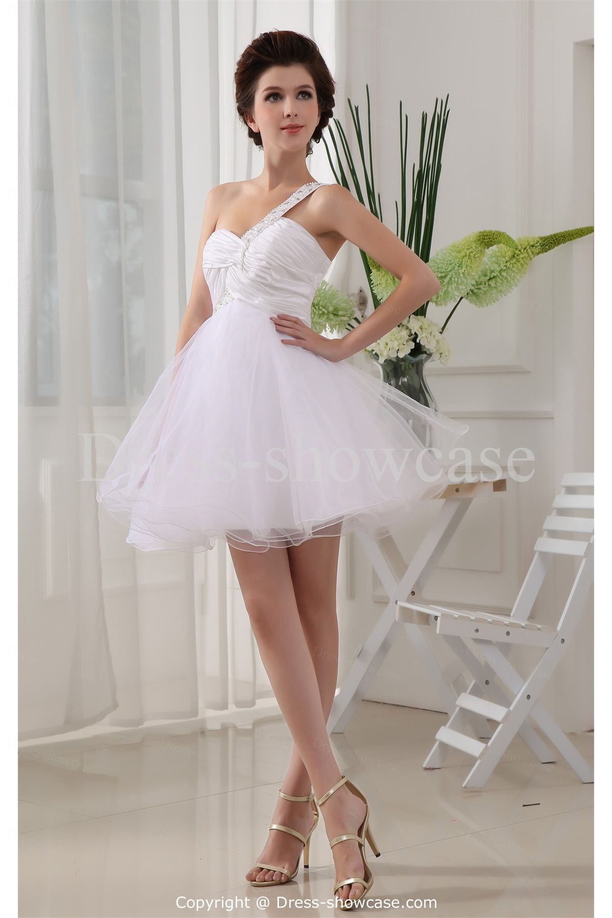 White quinceanera short taffeta one shoulder prom dress wholesale