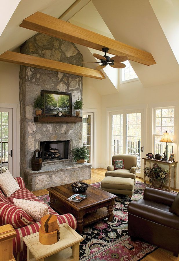 Beams  Vaulted ceilings and Cottages on Pinterest