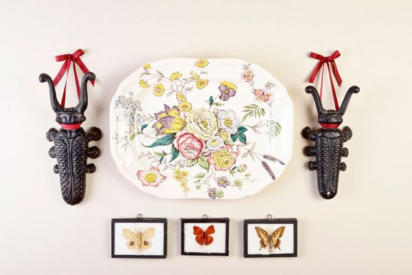 This collage was inspired by Carolyne Roehme. Perfect for a garden room. $355 in the shop. Butterfly and Beetle Collage | Finder Not Keeper
