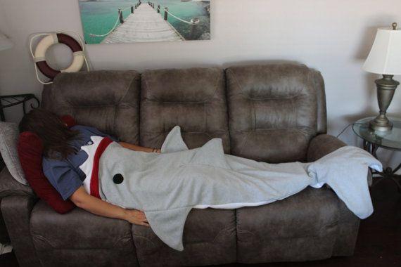 Adult Fleece Shark Blanket Sleeping Bag By