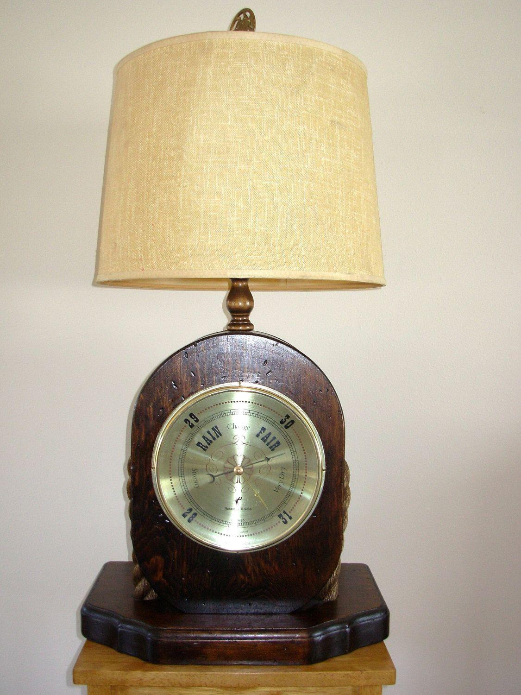 Vintage Nautical Large Pulley Lamp Barometer Pulley Lamps Vintage Nautical Vintage Lamps