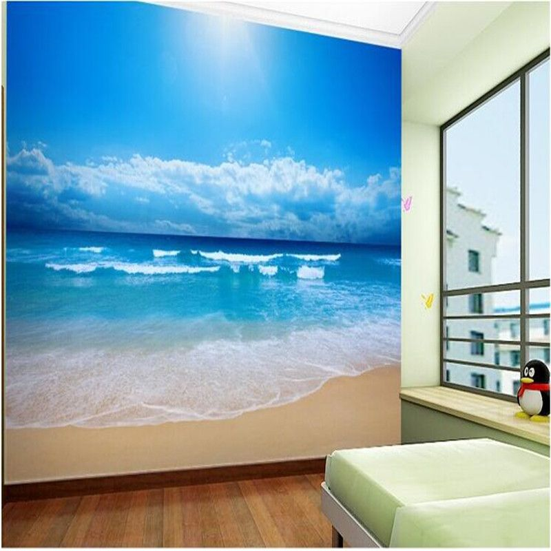 Beach Photo Wall Paper Roll Tv Background Non Woven Wallpaper Seamless  Large Wall Murals Papel De Parede Para Floral Room(China (Mainland))