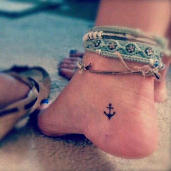 Small anchor... Perfect ankle tattoo.