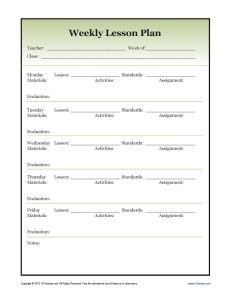 Weekly Detailed Lesson Plan Template  Secondary  Weekly Lesson