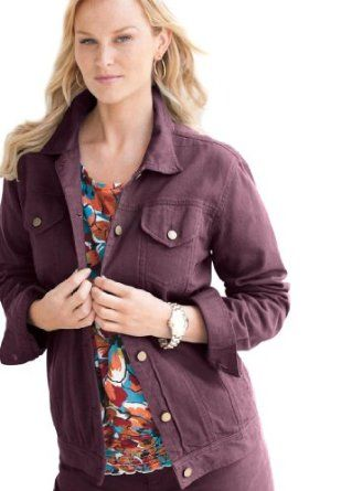 97694d33e28fd Jessica London Plus Size L-Pocket Classic Jean Jacket Wild Plum