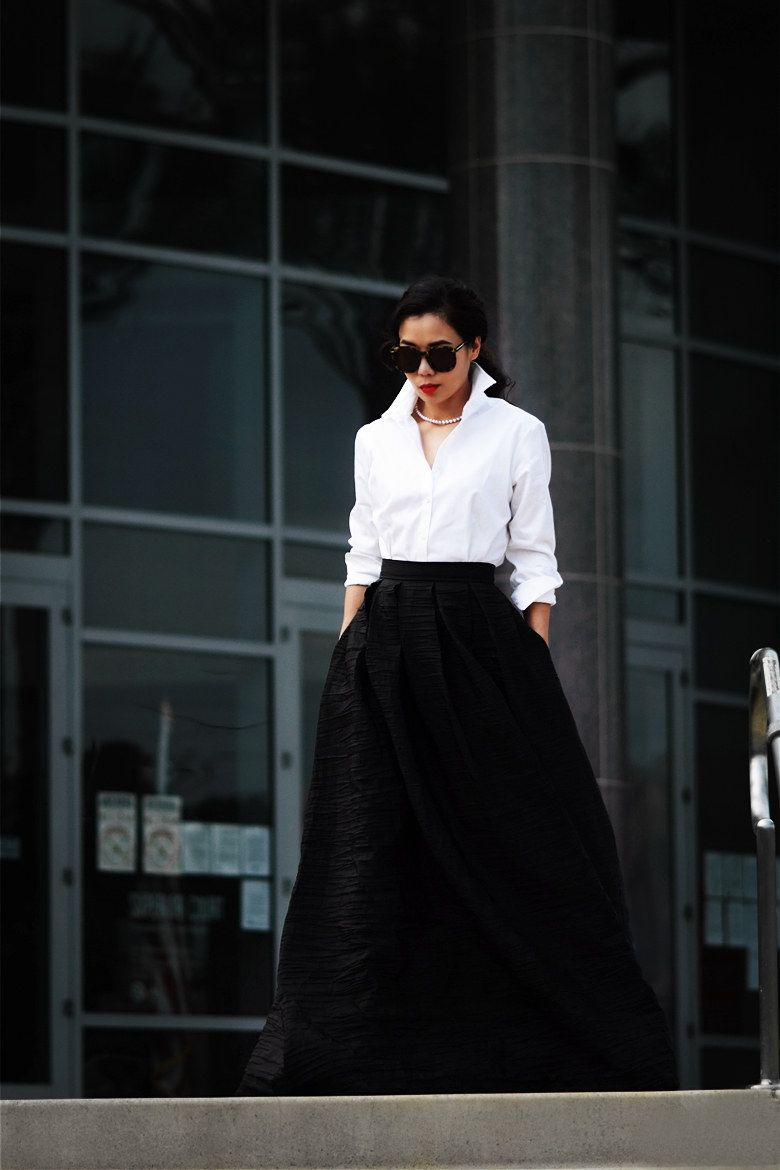 Black Maxi Gown  Vivian Chan White Button Down Shirt  Got it in Costco  Sunglasses Karen Walker Pearl Necklace  Gifted by my husband Red Lips   Chanel Rouge ... 8443a4b5a6d6