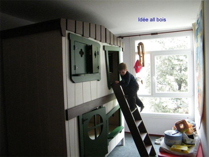 id e all bois lit cabane superpos ulysse pinterest superpose cabanes et chambre enfant. Black Bedroom Furniture Sets. Home Design Ideas