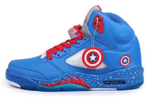 check out b96f7 1860b Air Jordan 5 Captain America High Top Marvel Custom Design Shoes Jordan 5, Roshe  Run