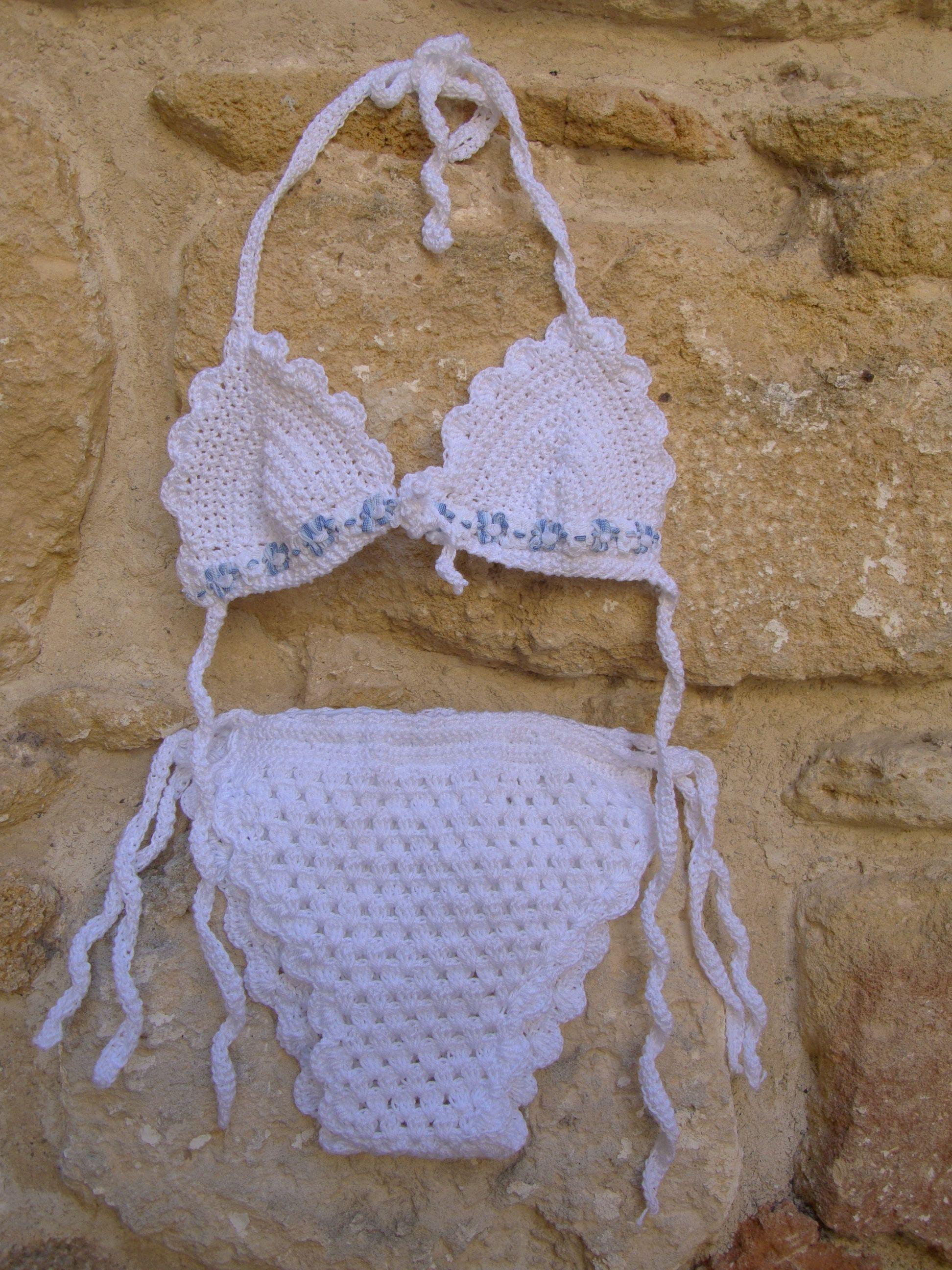 Crochet Bikini Newborn | White Bikini Girl | Crochet Bikini for Girls | White girl Costume #uncinettoperbambina