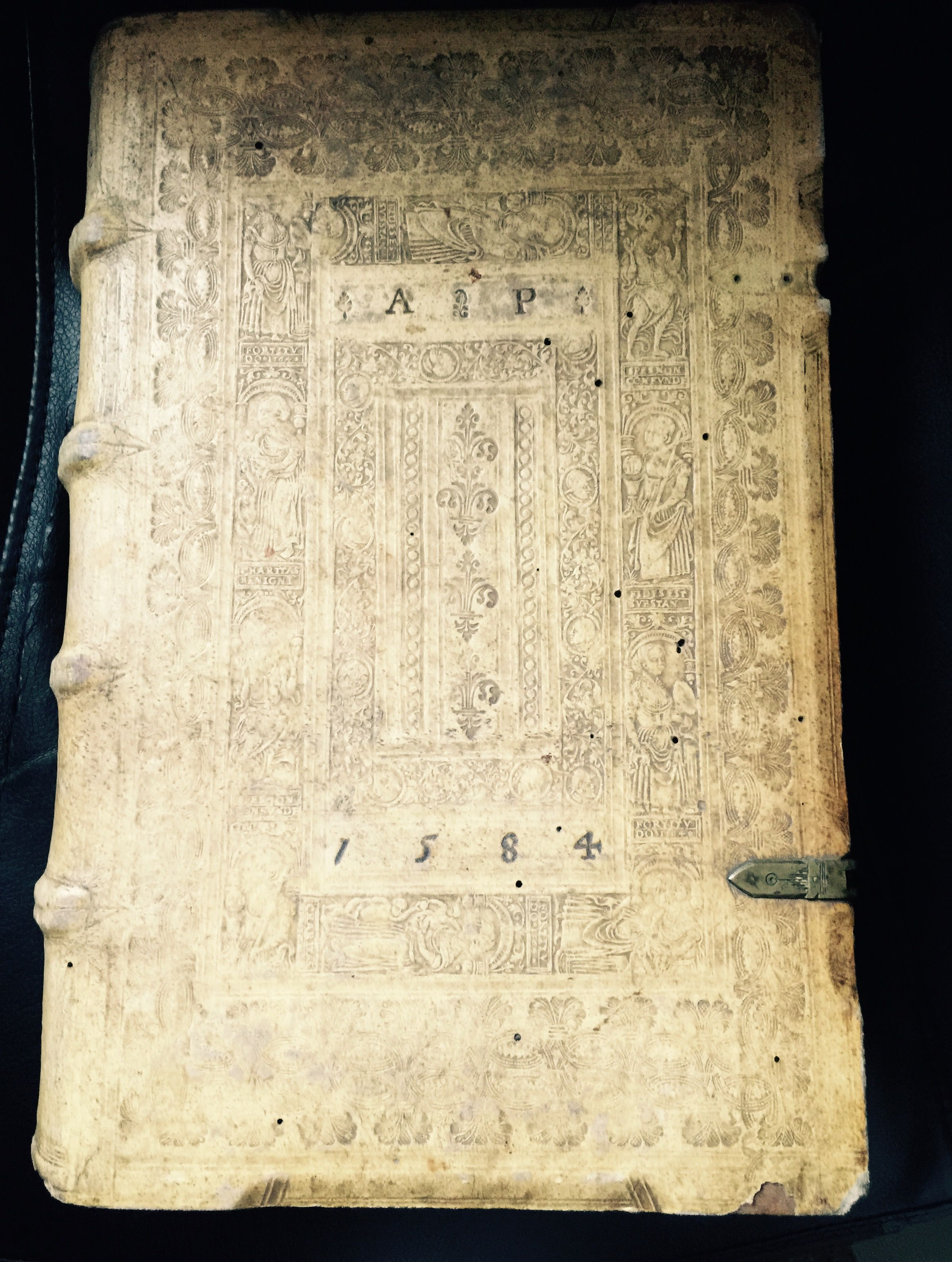 My personal collection- printed in 1575 in German, a book on the life of Christ bound in gorgeous stamped vellum...