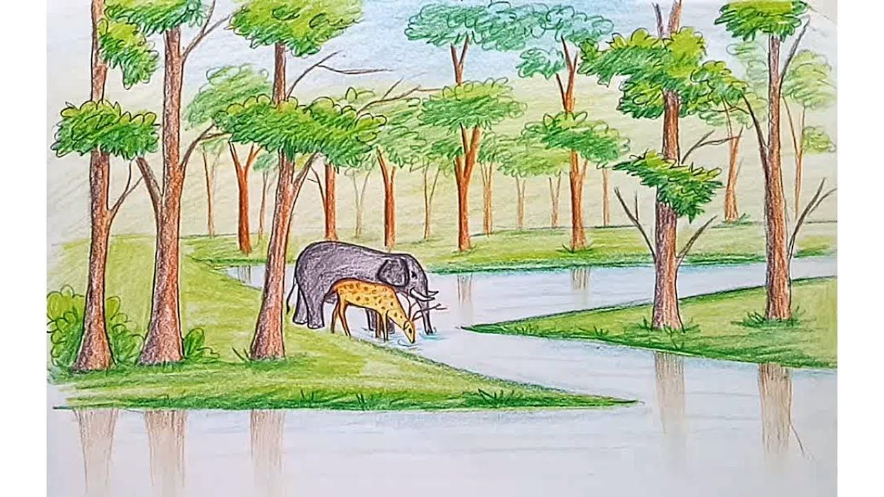 How To Draw Scenery Of Forest Step By Step Waterfall Drawing Color Pencil Drawing Drawings