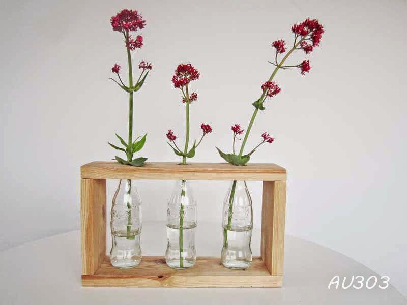 Vase bouteilles verre et bois palette 11515 DECO RECUPu0027, RECUP