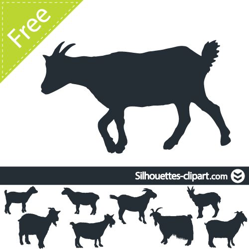 Vector Silhouettes Of Goats Silhouettes Clipart Animal Silhouette Goat Art Goats