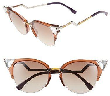 65f743c681361 Women s Fendi Crystal 52Mm Tipped Cat Eye Sunglasses - Brown  Palladium   Yellow