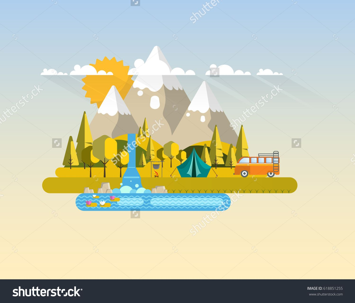 Hiking and Outdoor Recreation Scene in Flat Design. Abstract Landscape Vector Illustration.