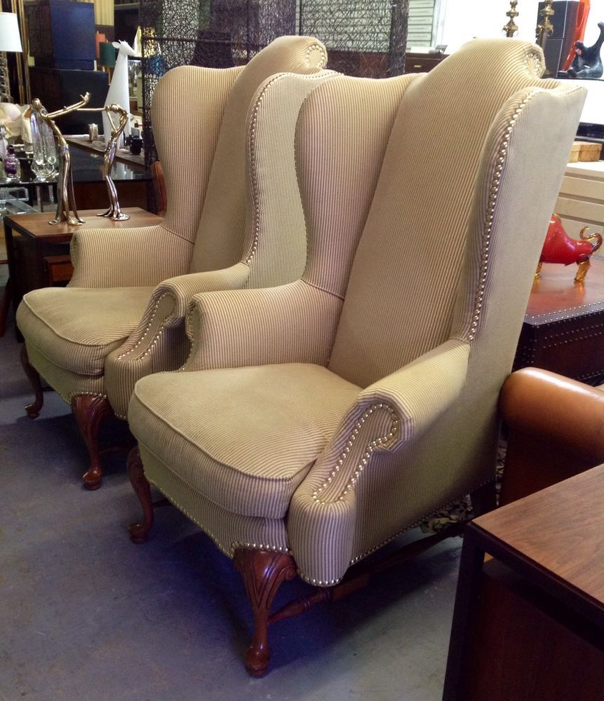 Regal Pair Of Drexel Heritage Monumental Wingback Chairs By
