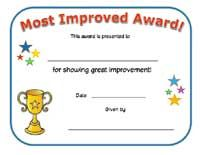 most improved certificate prize pinterest award certificates