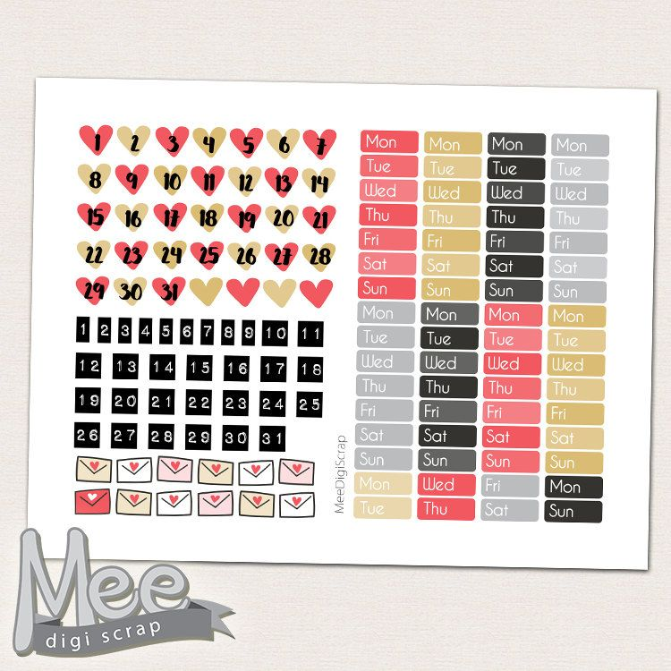 Date cover planner stickers,Red hearts date cover ups,Printable
