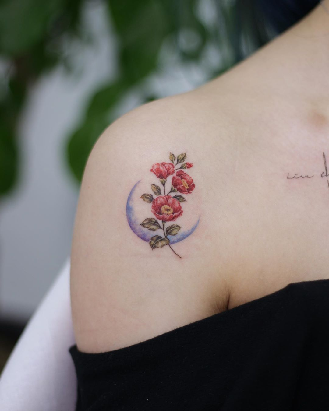 Camellia With Crescent And Cross Lettering Flowertattoo Botanicaltattoo Watercolortattoo Koreatattoo Camellia Small Tattoos Botanical Tattoo Tiny Tattoos