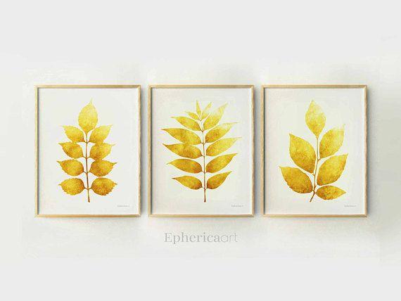 Set of 3 Wall Decor, Home Print Set, Yellow Plant Art Modern ...
