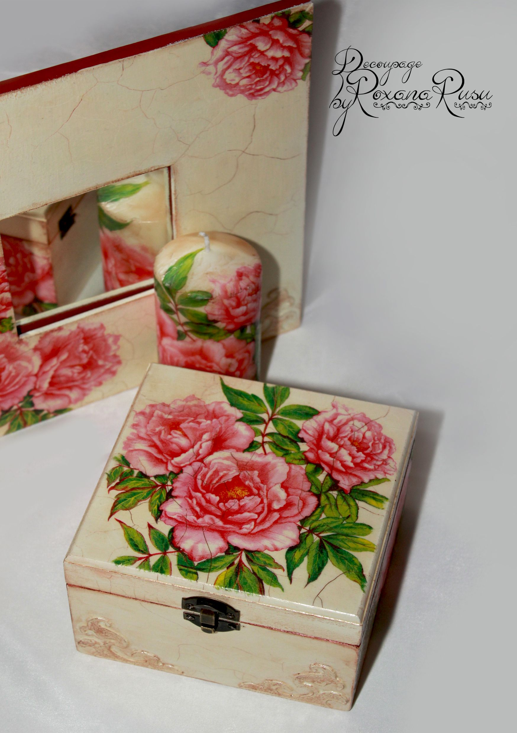 Vintage gift idea – Hand decorated mirror , jewelry box and candle – | Decoupage | Decoupage box ...