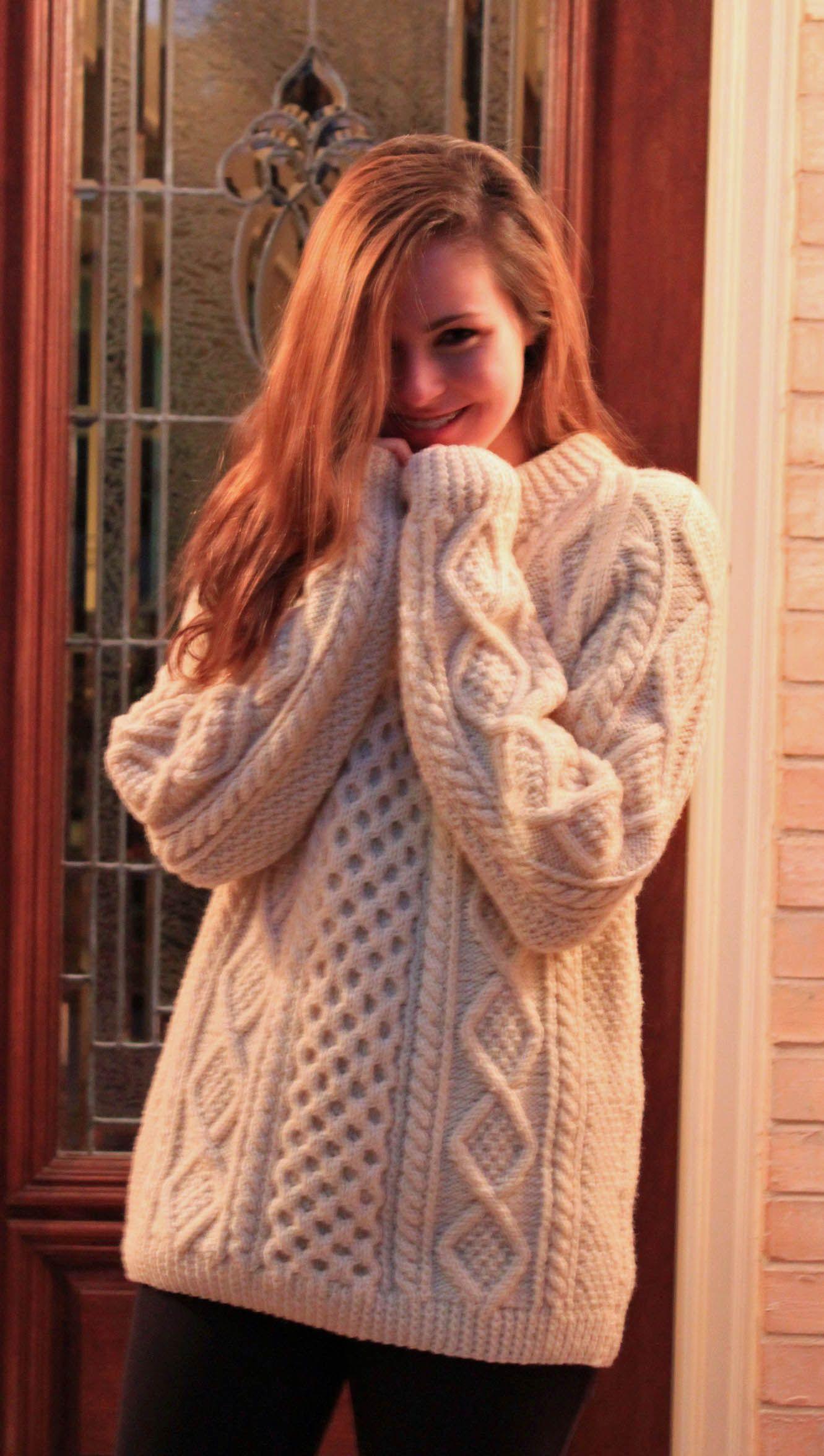 8661f5b1b Cozy Hand Knit Irish Fishermans Sweater at The Woodlands Goodwill Thrift  Store