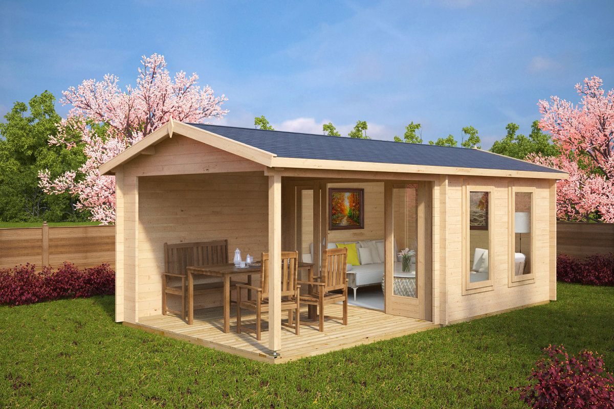 gartenhaus mit terrasse nora e 9m 44mm 3x6 varo. Black Bedroom Furniture Sets. Home Design Ideas