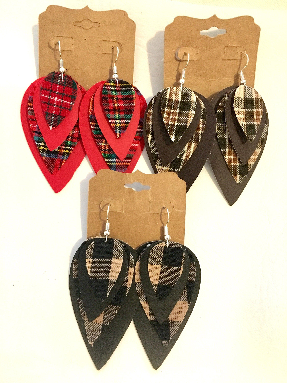 df2eaa1cb7dbb Leather teardrop earrings,plaid,dangle,drop,layered,long,fabric ...