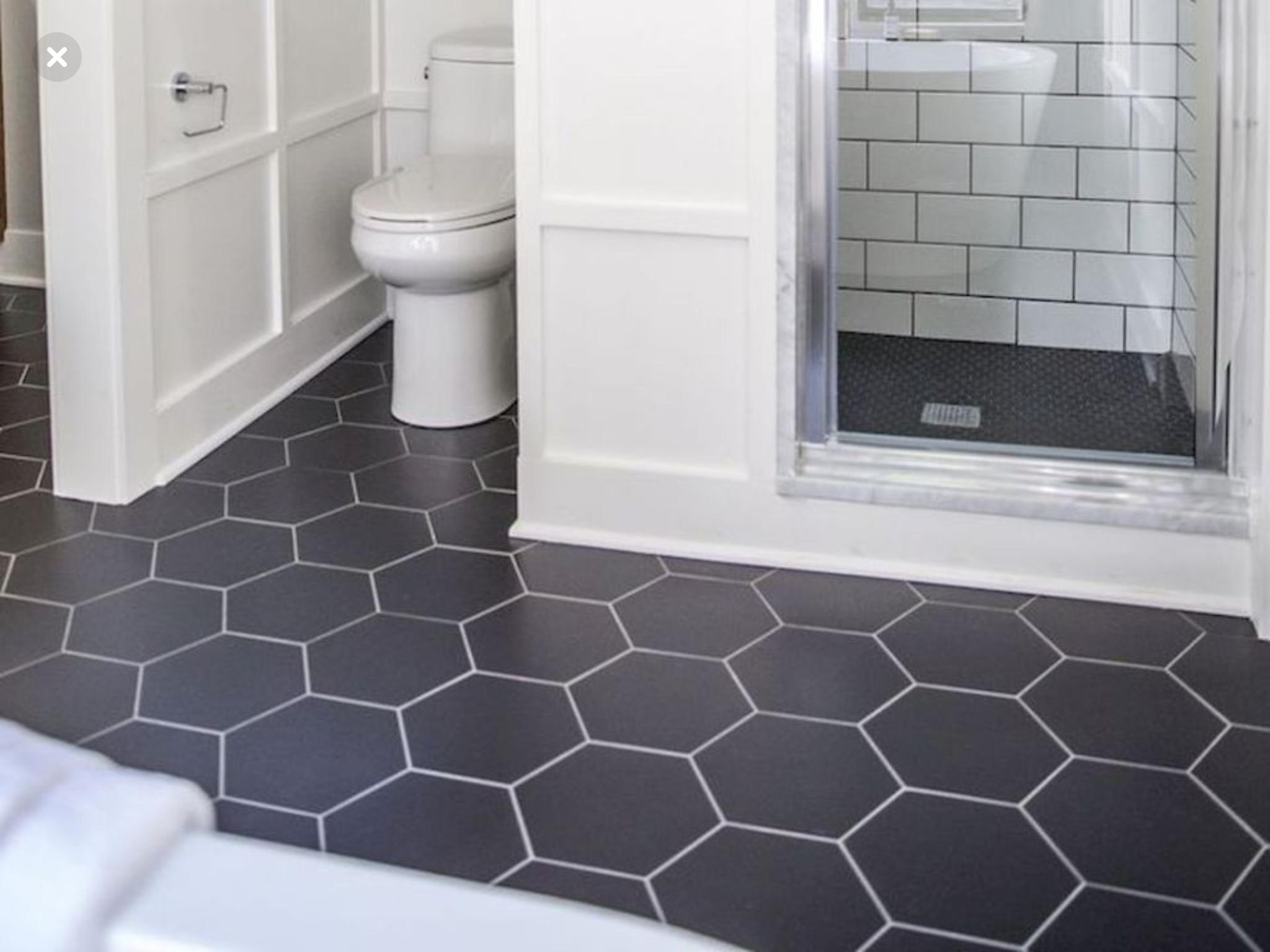 Dark Hexagon Tile And Subway Shower Tile With Dark Grout Honeycomb Tile Bathroom Floor Honeycomb Tile Floor Bathroom Floor Tiles