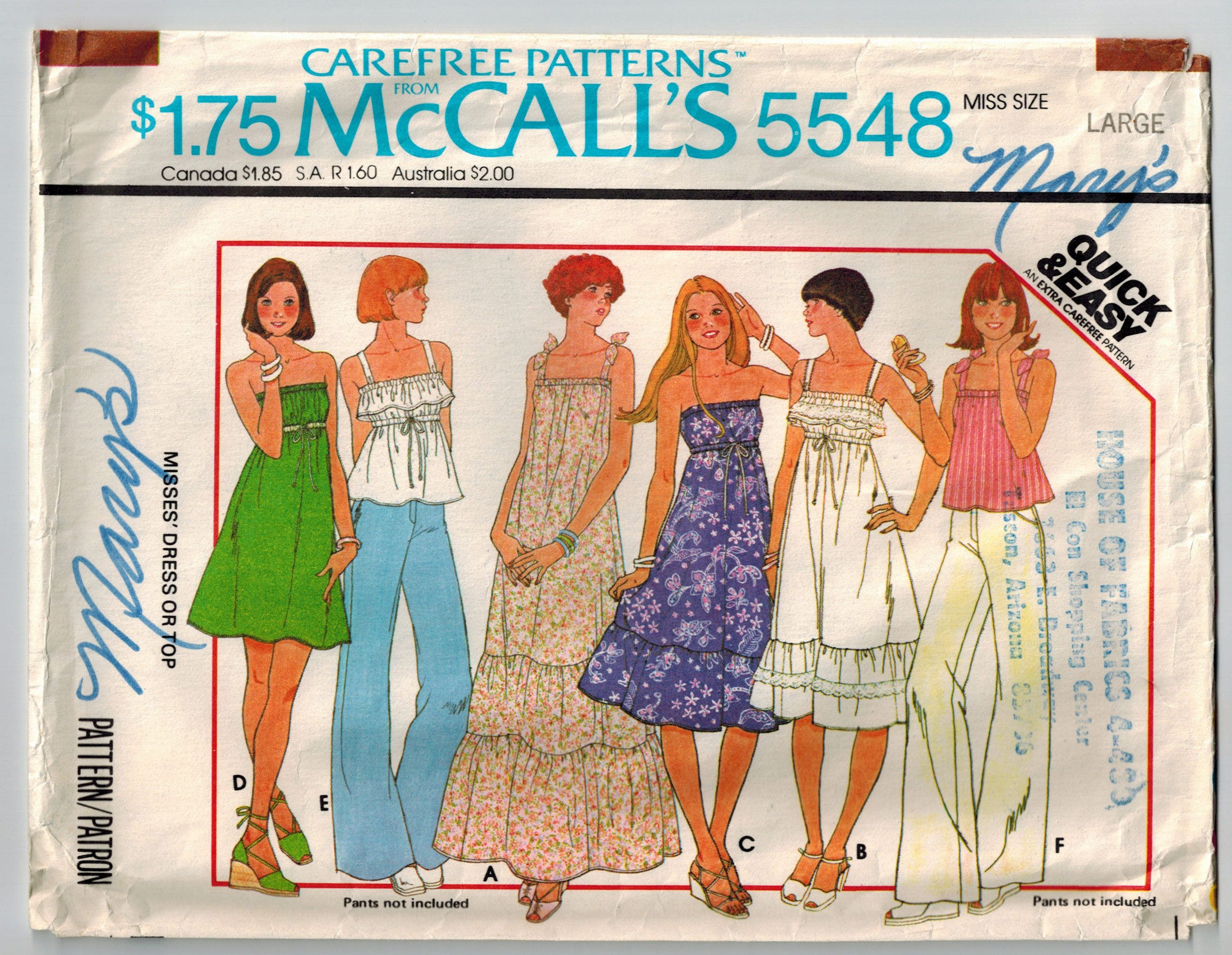 Vintage 70s Summer Dress or Top Sewing Pattern Size Large Bust 40 42 ...