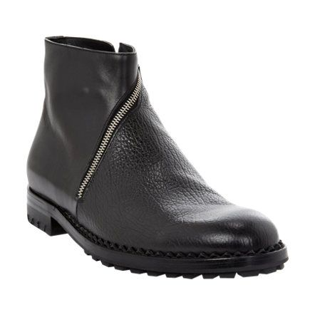 Balenciaga Textured Asymmetric-Zip Ankle Boots at Barneys.com