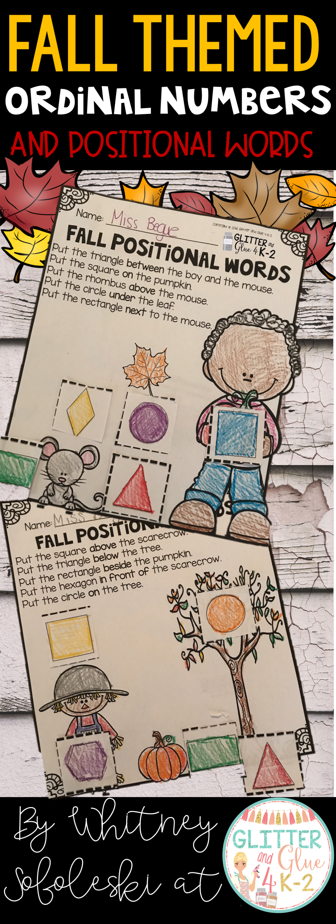 Ordinal Numbers And Positional Words Fall Themed