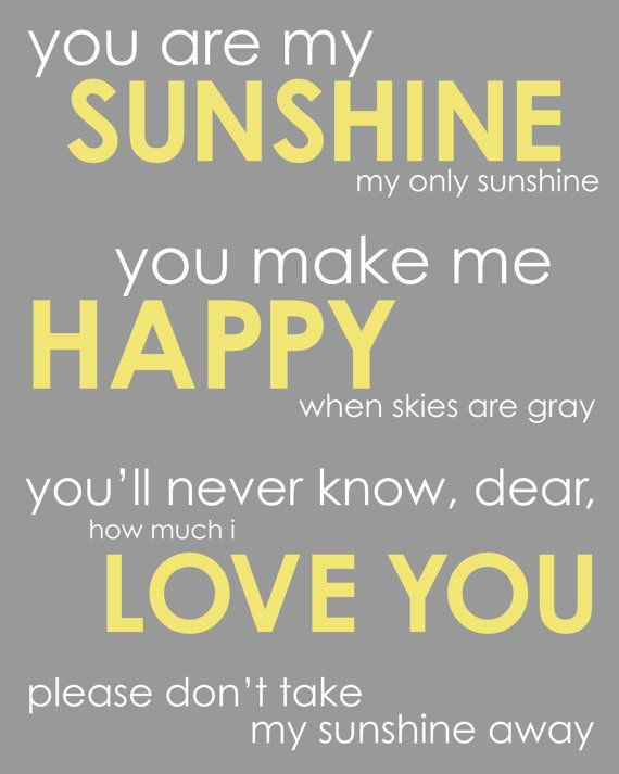 You Are My Sunshine Inspirational Quotesong 8x10 Print Miss