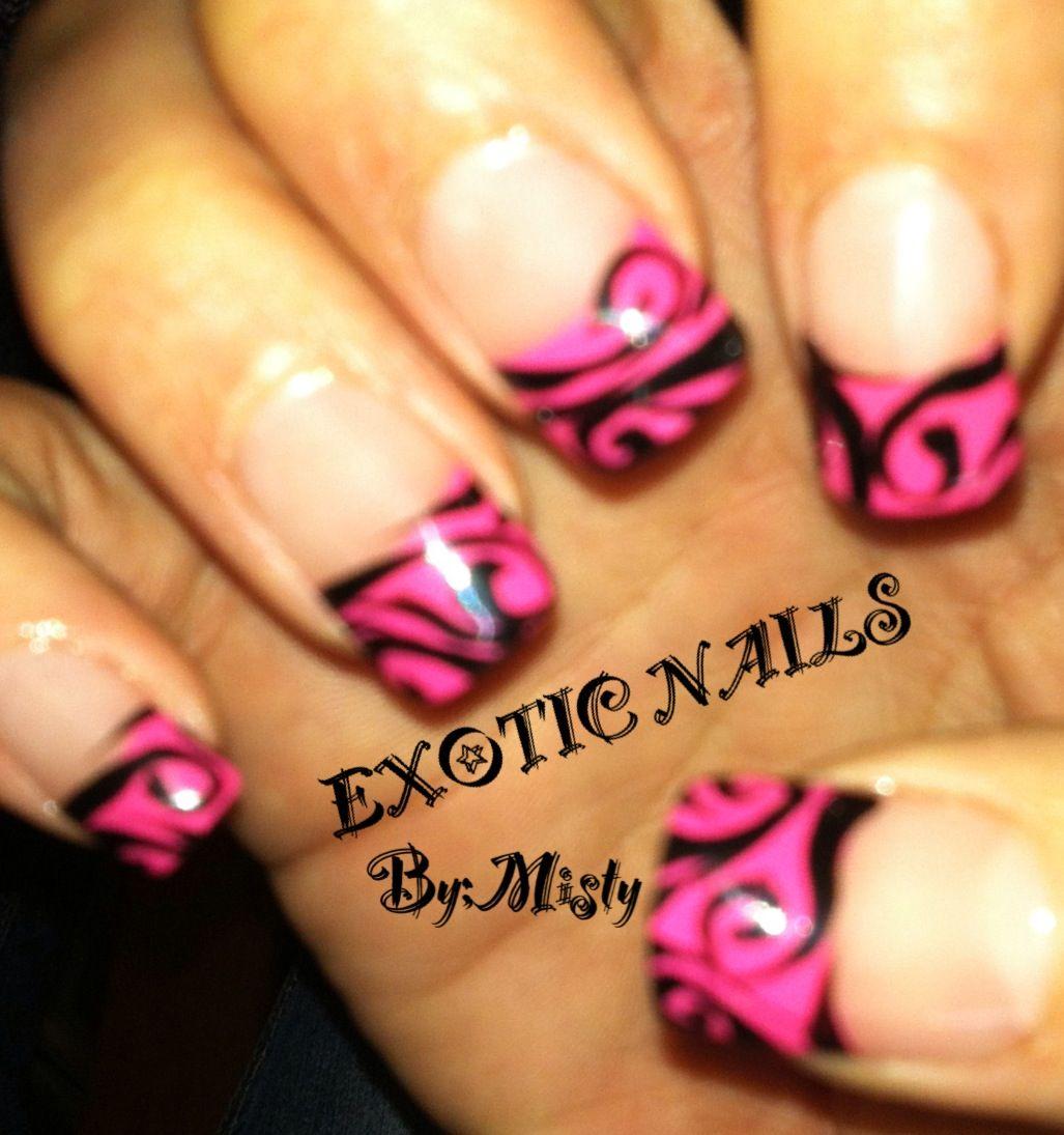 Pink And Black Nails Exotic Nails Hand Painted Nail Art