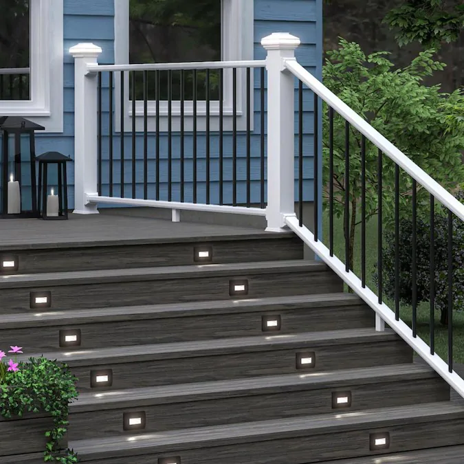 Deckorators Grab And Go 6 Ft X 2 75 In X 36 In White Composite Deck Stair Rail Kit Contemporary Balusters Included Assembly Required Lowes Com Deck Stair Railing Railings Outdoor Deck Railings