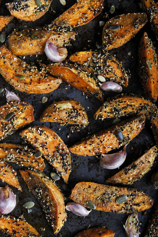 Dukkah sweet potato fries sides healthy creative