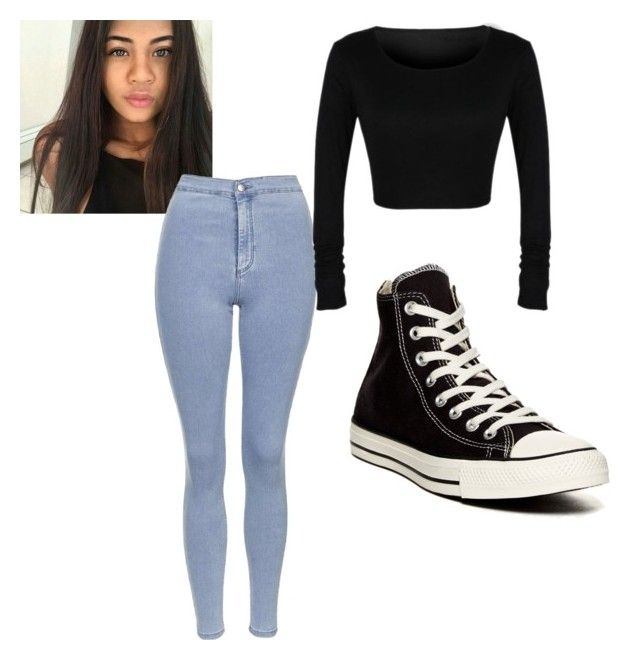 """""""Miabrandco."""" by miasbeast-1 ❤ liked on Polyvore featuring Topshop and Converse"""
