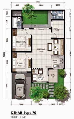 denah rumah minimalis type 70 1 lantai 300 478
