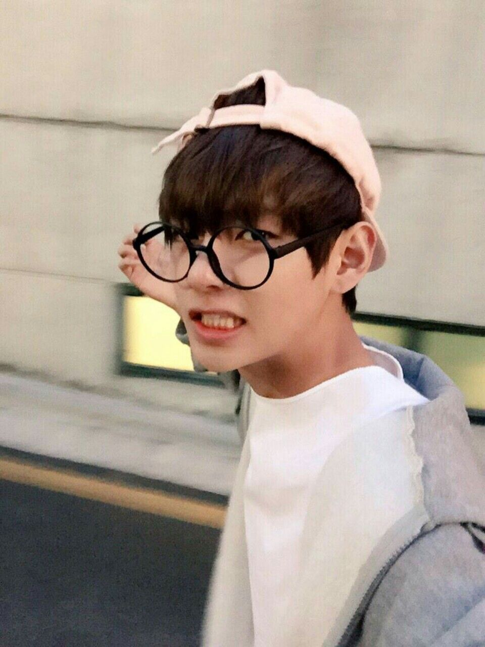 BTS — 6th of January. 2016 V with glasses and pink...