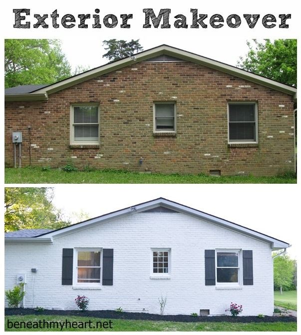Instant Curb Appeal With Diy Shutters Exterior Makeover Exterior And Bricks