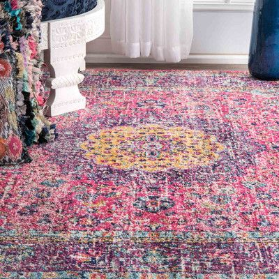 Bungalow Rose Varun Pink/Purple Area Rug Rug Size: Runner 2\'7\