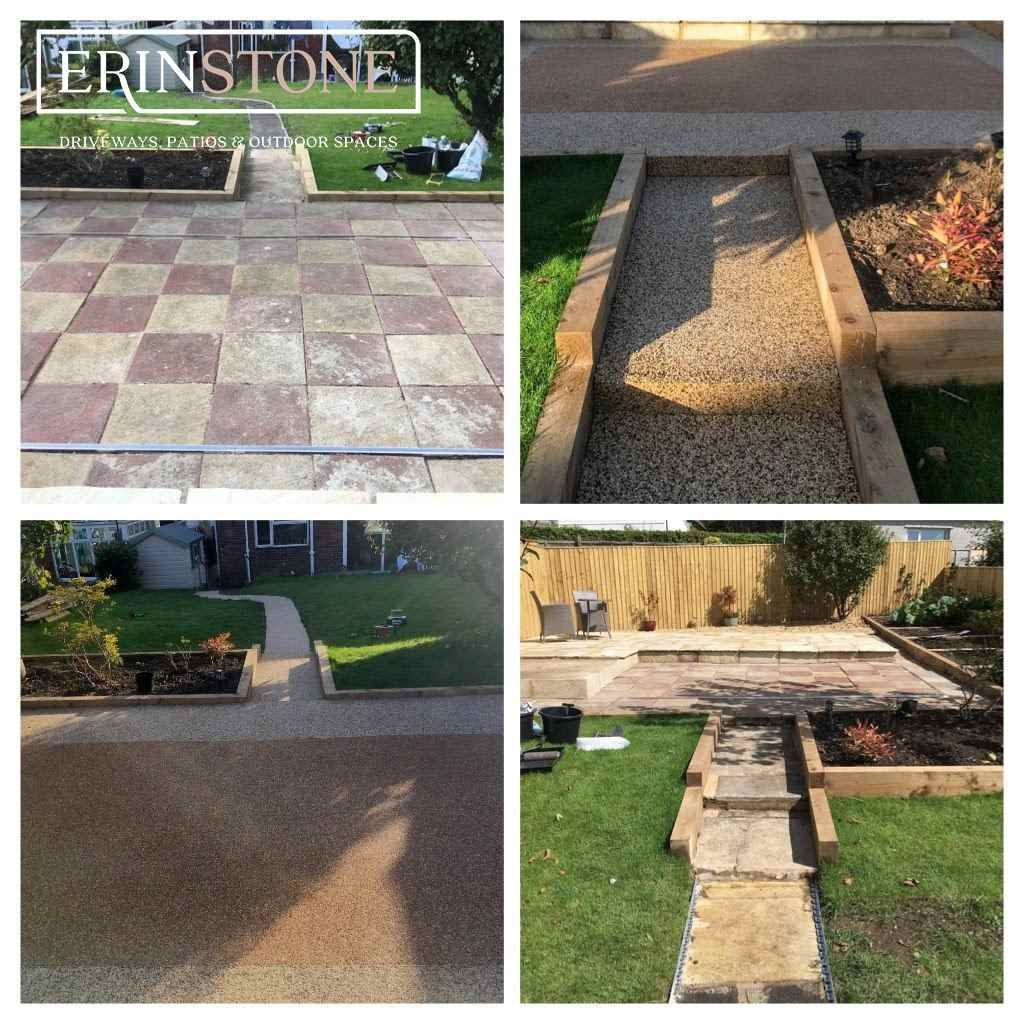 Before And After Pic Of Resin Bound Patio Stone Driveway Patios Patio