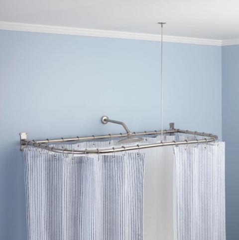 Corner Shower Curtain Rod Brushed Nickel : Best shower curtain ideas ...