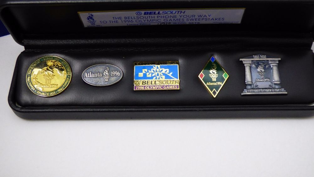 1996 olympic 5 pin set bell south sweepstakes black case