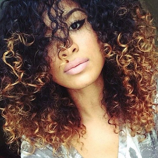 copper colored ombre highlight natural curly hair | Natural Hair ...