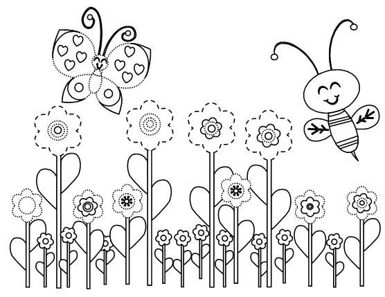 Flower Drawings Butterfly Coloring Page Bee Coloring Pages