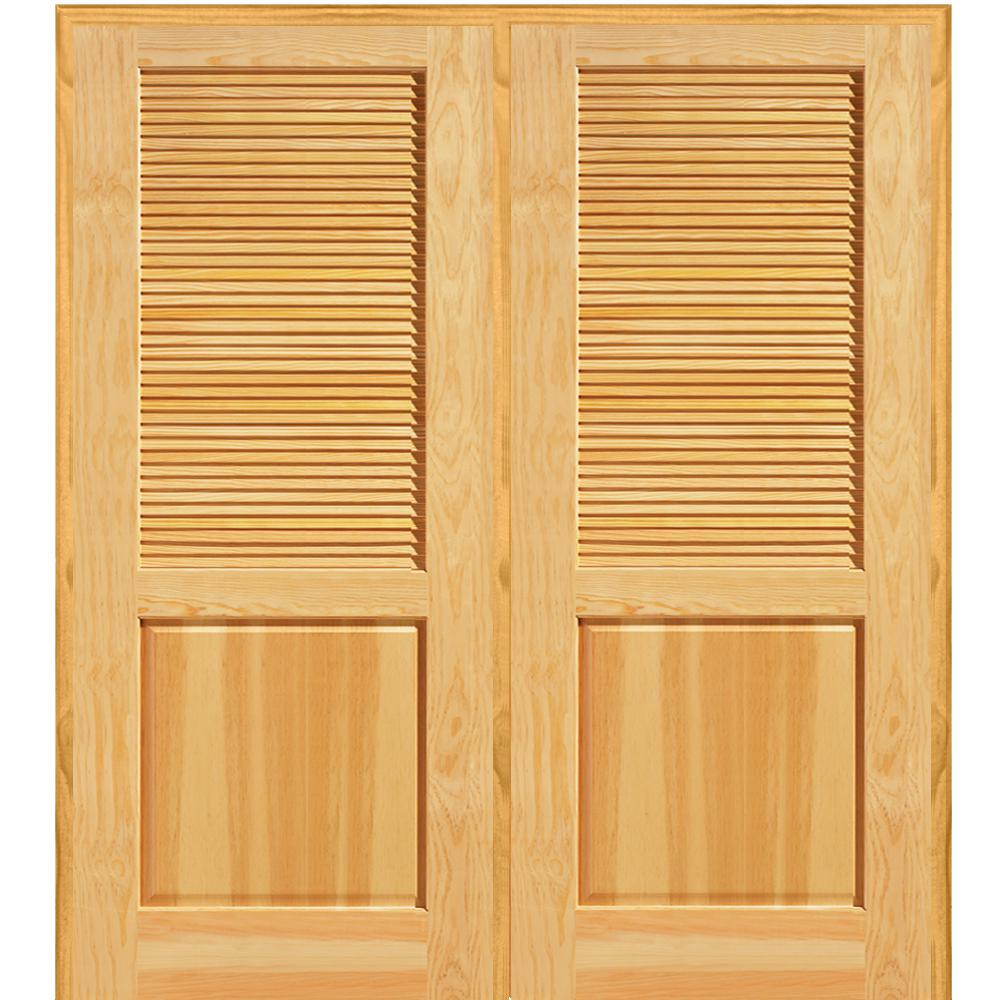Mmi Door 72 In X 80 In Half Louver 1 Panel Unfinished Pine Wood Right Hand Active Double Prehung Interior Door Z022660r Prehung Interior Doors Prehung Interior French Doors Interior Wood Shutters