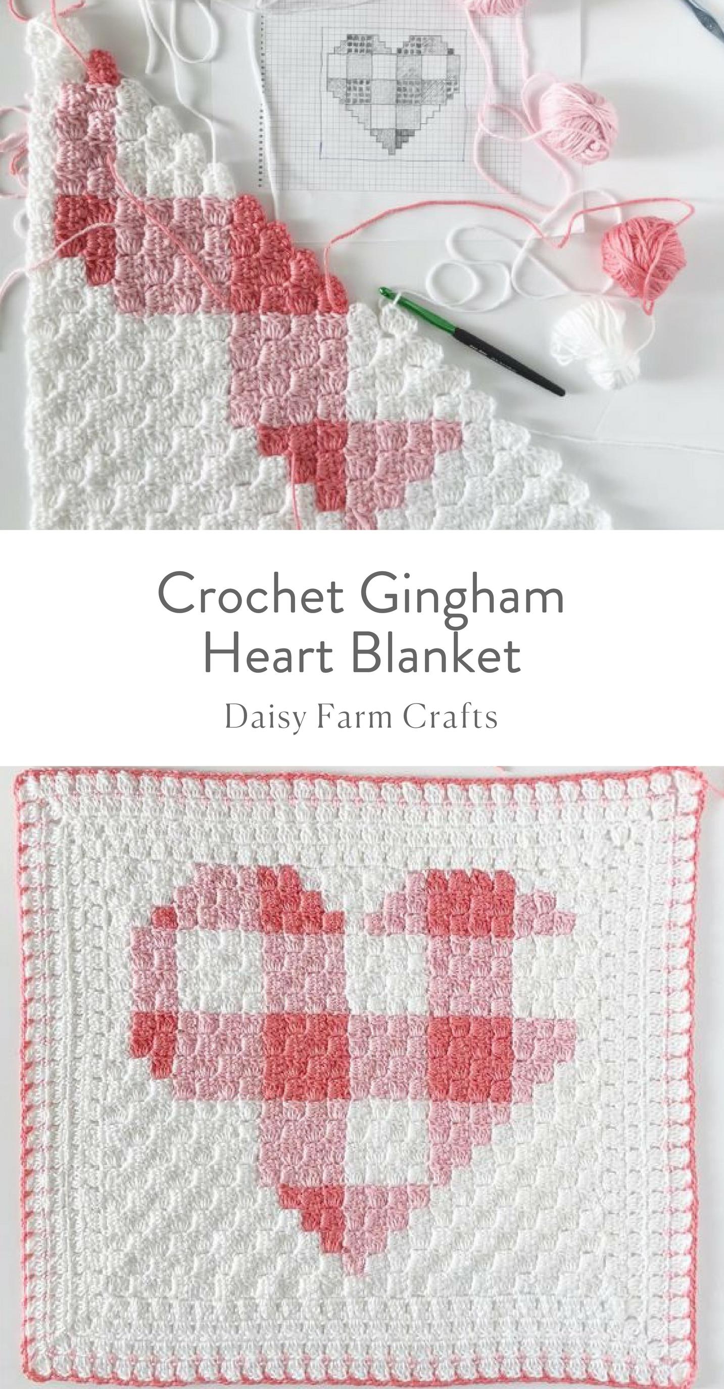 Free Pattern - Crochet Gingham Heart Blanket | Feeling Crafty ...